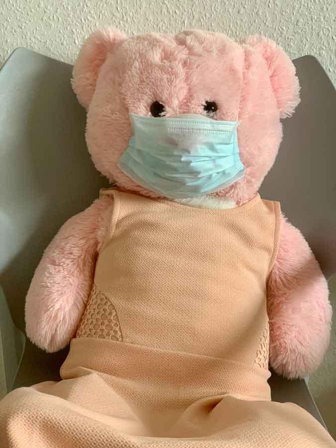 peluche orsacchiotto rosa con una mascherina del COVID 19